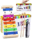 Xylophone en Bois pour les enfants - Smarkids Instruments de Musique Percussion sûr pour les enfants Avec Touches Métalliques Multicolores, Deux Baguettes en Bois, Feuille de Chanson et Harmonica