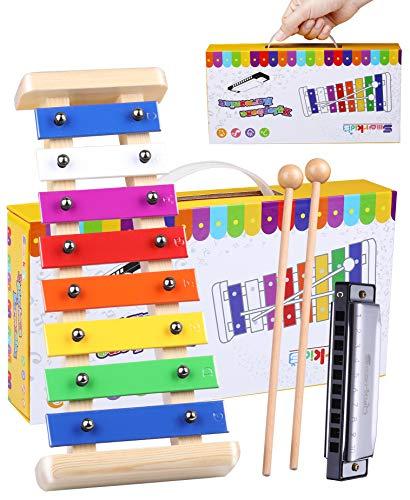 Harmonisches Xylophon für Kinder aus Holz - Smarkids 8 Anmerkung Metallschlüssel Glockenspiel und Harmonika Percussion Set mit Liedblatt Kinder Pädagogische Musikspielzeug für Jungen und Mädchen