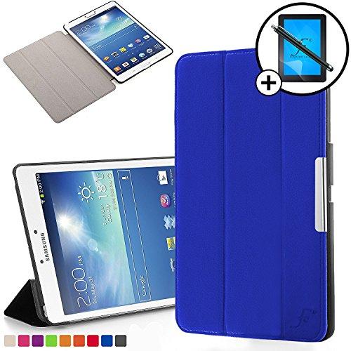 Forefront Cases Samsung Galaxy Tab 3 8.0 Funda Carcasa Stand Smart Case Cover – Ultra Delgado Ligera y Protección Completa del Dispositivo con Función Auto Sueño / Estela + Lápiz óptico y Protector de Pantalla (AZUL)