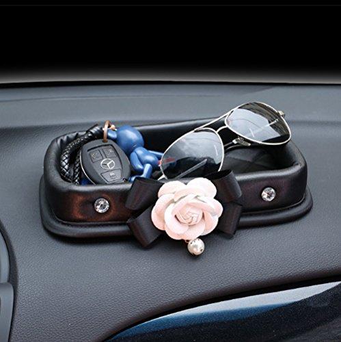 inebiz Luxus Auto Charme, Schöne Camellia Leder Fahrzeug Konsole Armaturenbrett Organizer für Frau Mädchen Automotive Innen Dekorieren Vordersitz Organisation