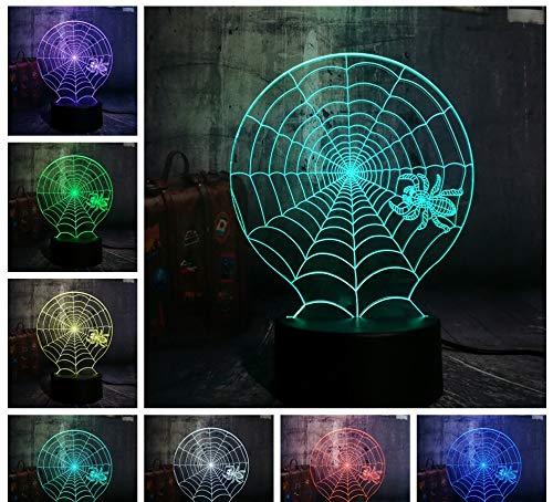 3D Animal Night Light Halloween Scène D'Horreur Led Night Light Araignée Web Spider Web Network Lampe De Table Horreur Décoration De La Maison Enfants Cadeau De Noël