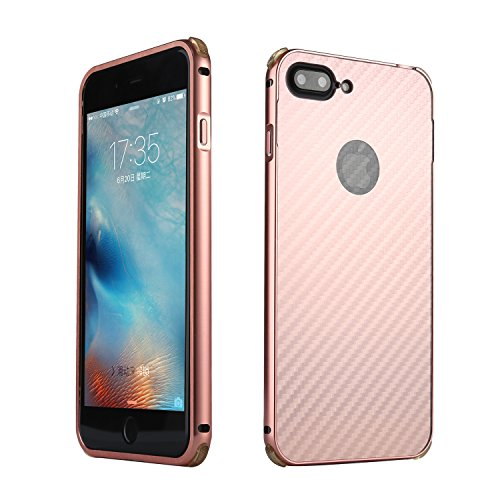 iPhone 7 Plus Hülle, iPhone 8 Plus Hülle, Valenth Carbon Fiber Partern Aluminium Metall Stoßdämpfer Shockproof Schutzhülle für iPhone 8 Plus / iPhone 7 Plus RoseGold