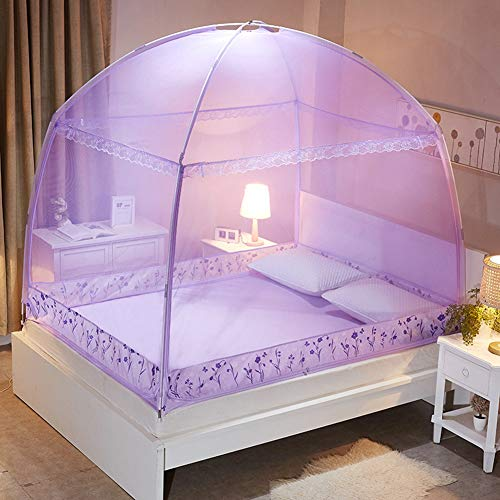GYPPG Jurte Moskitonetze Single Doppelt Bett Haushalt DREI Offene Türen Reißverschluss Mückennetz, Insektenschutz Feines Mesh Zelt, Purple,220 * 200 * 170cm -