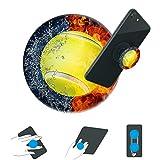 hongdus-Expanding Ständer und Griff für Smartphones und Tablets, Telefonständer für Jungen und Mädchen, Tennis Ball Fire Wasserschwarz