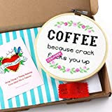 Cross Stitch Kits for Beginners, Funny Coffee Quote