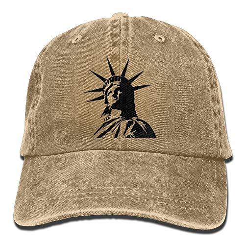 Paint0 Statue of Liberty Retro Washed Dyed Cotton Adjustable Baseball Cowboy Cap Maroon Rim