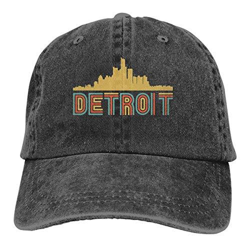 Men Women Adjustable Vintage Jeans Baseball Kappen Retro Style Detroit Michigan Skyline2 Dad Kappen
