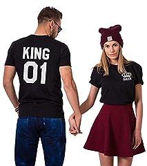 Idea Regalo - Couple Shirt King Queen San Valentino Stampa T-Shirt Coppia 100% Cotone Maglietta Fidanzati Manica Corta Bianco Nero Uomo Donna Regalo (Nero+Nero,S+M)