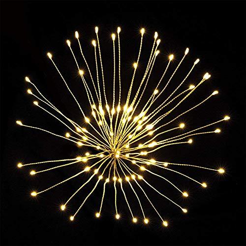 Favsonhome 2er-Pack Pusteblume Lichterkette, LED Feuerwerk Kupfer Lichterkette Bouquet Form 100 LED Micro-Lichter für DIY Hochzeit Tischdekoration Party (Warmweiß) -