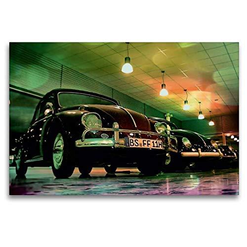 Calvendo Premium Textil-Leinwand 120 cm x 80 cm quer, Oldtimer aus Deutschland | Wandbild, Bild auf Keilrahmen, Fertigbild auf echter Leinwand, Leinwanddruck: VW Käfer Mobilitaet Mobilitaet