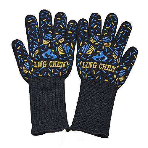 Maskerade Französisch Kostüm - QIMANZI Heiß BBQ Grillen Handschuhe Kochen Extrem Hitze Beständig Ofen Schweißhandschuhe(D1)