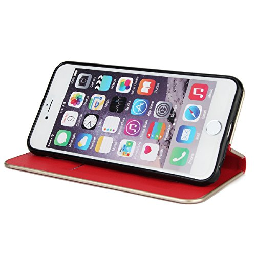 CaseforYou Hülle iPhone 6 / iPhone 6s 4.7 inch Deckung Gehäuse Litchi Grain Pattern PC + PU Leather Protective Deckel Case Magnetic Closure Flip Stand Cover mit Card Slot Schutz für iPhone 6 / iPhone  Rot