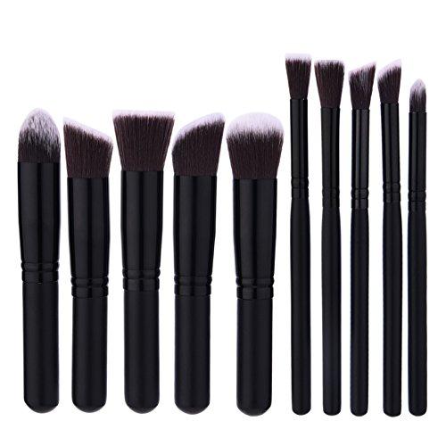 Loveusexy 10pcs Kits Brosse Maquillage prime Cosmetic Maquillage Pinceaux Poudre Fondation Le fard à paupières Eyeliner Brosse Outil Black-Black