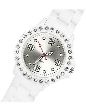 Taffstyle® Frauen Uhr Elegante Sportuhr Farbige Analog Damenuhr mit Silikonarmband und klaren Strasssteinen -...