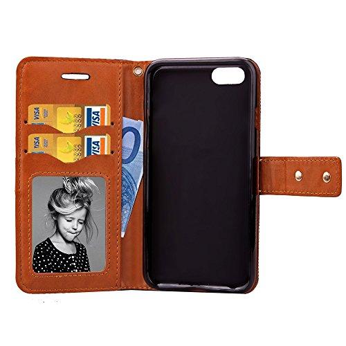 iPhone Case Cover Weiche TPU Abdeckung Cowboy Jeans PU lederner Fall mit mittlerem Verschluss mischte Farben-Mappen-Standplatz-Fall für IPhone 7 ( Color : Gray , Size : IPhone 7 ) Red