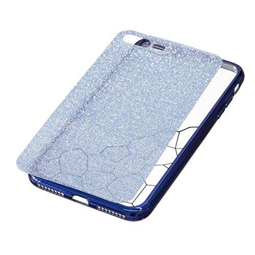 Wkae Galvanische Kleine Würfel TPU Schutzhülle für iPhone 7 Plus ( Color : Rose gold ) Blue