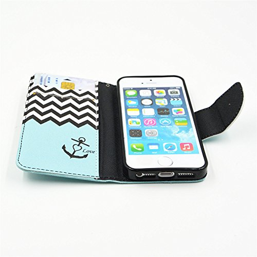 Nutbro iPhone SE Case, iPhone 5s Case, Wallet Style Case [Stand Feature] with Built-in Credit Card Slots Wallet Case for iPhone 5s / iPhone SE HX-5S-21