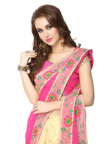 Panchratna-Womens-Embroidered-Pink-And-Beach-Half-And-Half-Georgette-Saree-With-Blouse-Material