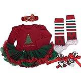 Nouveau-né Vêtements de Noël, Reaso Enfant Ensemble Bébé Fille Romper Tutu Dress Définit 4pcs Tenues Bodysuit (L)