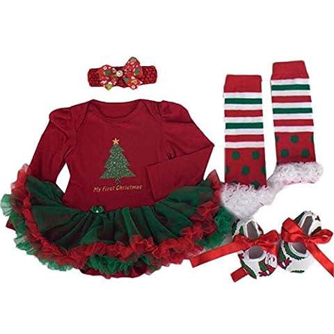 Nouveau-né Vêtements de Noël, Reaso Enfant Ensemble Bébé Fille Romper Tutu Dress Définit 4pcs Tenues Bodysuit