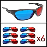 3D Brille mit Anaglyphen-Technologie für Filme oder PC-Spiele im 6er Set, Gläser rot/cyan