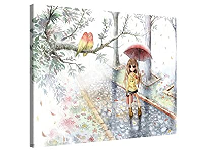 Love in the Rain - Cute Watercolour Anime Art