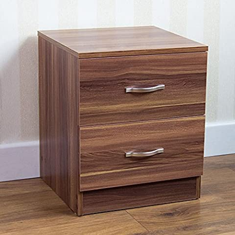 Home Discount Walnut Bedside Cabinet, 2 Drawer With Metal Handles & Runners, Unique Anti-Bowing Drawer Support, Riano Bedroom