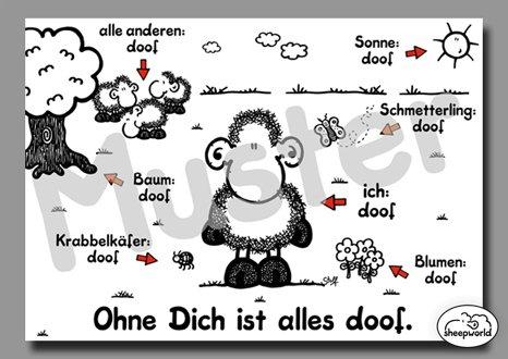 "sheepworld Postkarte \""Ohne Dich ist alles doof\"" Nr. 74"