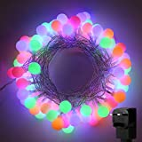 LE Multicoloured Christmas Lights 10m, 100 LED Fairy Lights Plug in, RGB 8 Modes, Mains Powered, Festoon Globe String Lights for Indoor Outdoor, Christmas Tree, Party, Garden, Gazebo and More