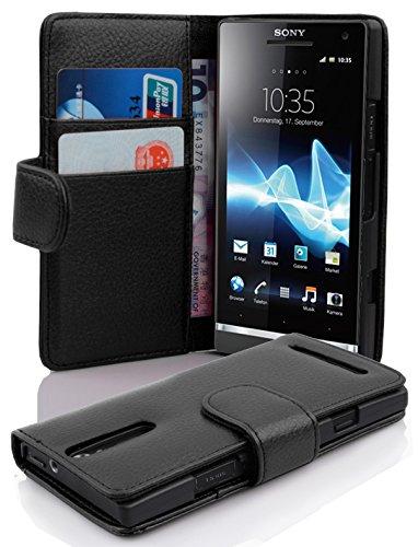 Cadorabo - Book Style Hülle für Sony Xperia S - Case Cover Schutzhülle Etui Tasche mit Kartenfach in OXID-SCHWARZ