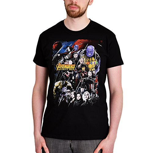 Marvel Camiseta Avengers para Hombre Infinity War Poster Collage Cotton Black zeWKew