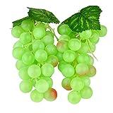 Venkaite 2pc Deko Kunststoff Weintrauben Wein Trauben Kunstobst Plastikobst künstliches Obst Gemüse Dekoration (grün)