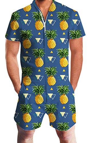 RAISEVERN Mens Marineblau Ananas Printed Shirts mit Strand Shorts Hosen Strampler Overall Outfits Kleidung X-Large
