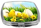 Rikki Knight Compact Mirror, Easter Chicks In Tall Grass