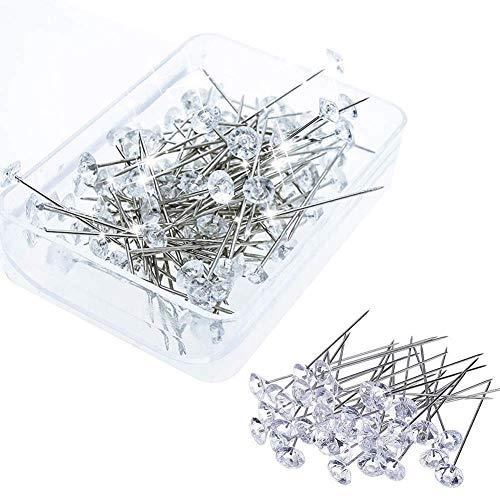 100 alfileres de cabeza de cristal de diamante