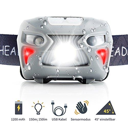 [Neueste] Fukkie LED Stirnlampe - Wiederaufladbare LED Kopflampe, 7 Lichtmodi, Verstellbares Stirnband, 1200mAh Batterien, USB Kabel Enthalten, Wasserdichtes White & Red Light, Ideal für Wandern, Joggen, Radfahren, Angeln, Wandern oder mehr