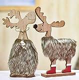 Valery Madelyn Decorazione natalizia in legno Decorazione renne Set di 2 con soffice pelliccia finta 24.5cm in piedi alce Figurine di Natale Cervo Figurine animali Foresta Decorazione di tavola Decorazione per inverno Avvento Natale