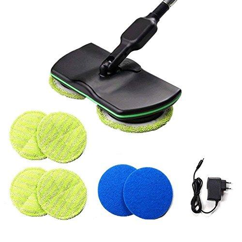 Electric Mop Griff Cordless Bodenreiniger Rotary Akku, 3-in-1 Spinning Bodenreiniger Vacuum Teppich Fliesenfeger für alle Oberflächen, Wet Mop Boden Polierer mit 4 Mikrofaser Pads und 2 Polierer Pads