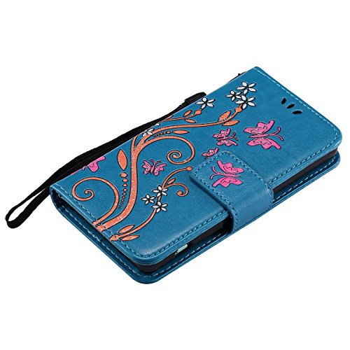 Custodia Xperia Z3 Mini - Cover per Sony Xperia Z3 Mini - ISAKEN Accessories Cover in PU Pelle Portafoglio Tinta Unita Custodia, Elegante Fiori Farfalle Pattern Design in Sintetica Ecopelle Libro Book Flowers: blu