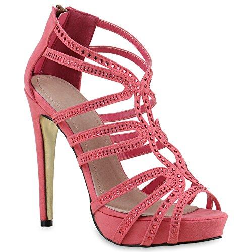 331a7e05b62d87 Damen Sandaletten High Heels Strass Plateau Stilettos Party Schuhe Sommer  Abiball Hochzeit Brautschuhe Coral