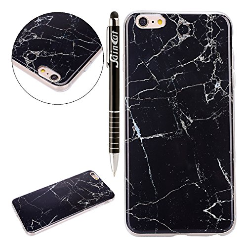 Coque Housse TPU pour Apple iPhone 6s Plus,SainCat Transparent Brillante Coque Silicone Etui Housse Brillante,iPhone 6 Plus Silicone Case Soft Gel Cover Anti-Scratch Transparent Case TPU Cover,Fonctio marbre-Roche noir
