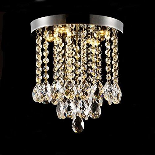 Moderne einfache Chrom Trichromatische Dimmen Runde MINI Kristall Deckenleuchte Fixture LED Beleuchtung Crystal Droplight LED 24W D25 * H25cm