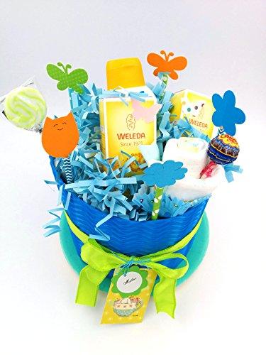 chens mit 3 Cremes Weleda   Modell LITTLE PRINZ   Personalisierte mit dem Namen des Baby-   Windeltorte   Baby-Dusche-Geschenk-Idee   Blauton, um Maschietti ()