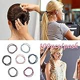 12shage 50 Stück Stretchable Haargummi für Kinder Mädchen Frauen Haar Accessoires, Haargummis Haarband Elastische für Arbeit Sport Haarschmuck in 10 Farben