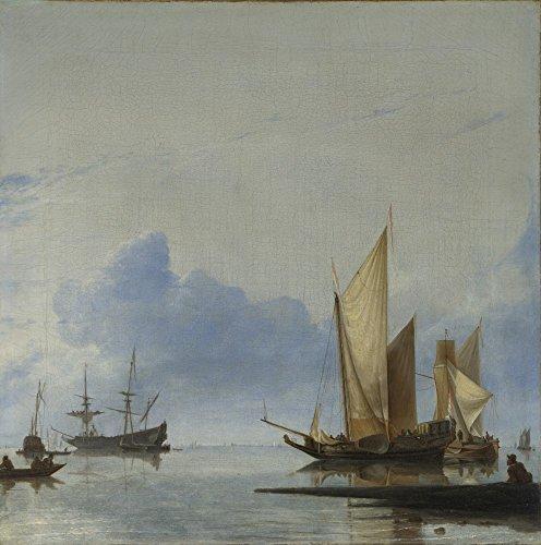 Die Museum Outlet-Hendrik Dubbels-A Dutch Yacht und andere, Flaute in der Nähe der Shore-Poster Print Online kaufen (76,2x 101,6cm)