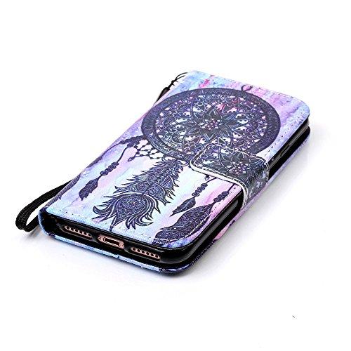 """iPhone 7 Coque Noir Cuir Portefeuille Etui Rabat Style Coloré Peinture Image ( Don't Touch My Phone ) Case pour Apple iPhone 7 4.7"""" Noir-5"""