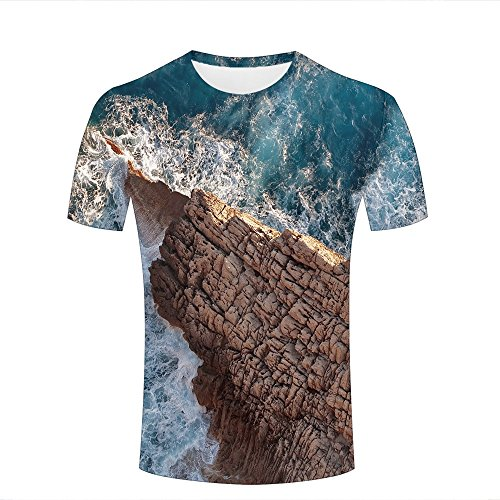 fcd4823e para Hombre Crewneck 3D Print T-Shirt Sea Water Splash Wall Creative  Graphic Short Sleeve