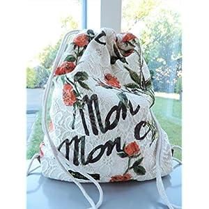 Rucksack aus romantischem Spitzenstoff mit Rosen