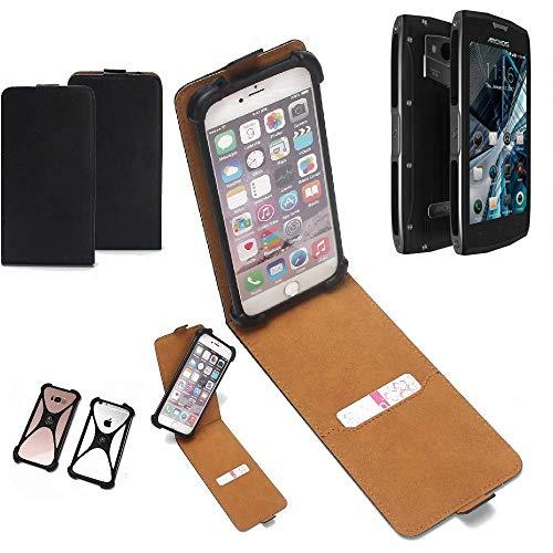 K-S-Trade Flipstyle Hülle für Archos Sense 50 X Handyhülle Schutzhülle Tasche Handytasche Case Schutz Hülle + integrierter Bumper Kameraschutz, schwarz (1x)