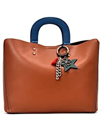 26033f74b8 Oruil Button Closed Handbags With Bag Charms Double Top Handle Bags PU  Leather Satchel Handbags For